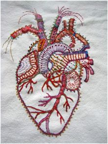 Stitched heart on fabric