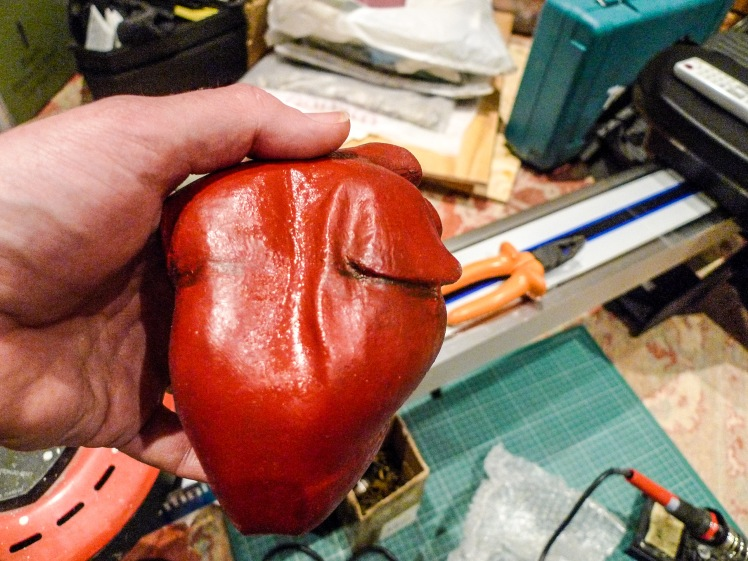 The ridge (scar) on the side of the heart, with undercoat and definition