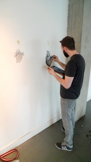 Adam Riches drawing his heart